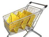 Nákupní košík izolovaných na bílém pozadí — Stock fotografie