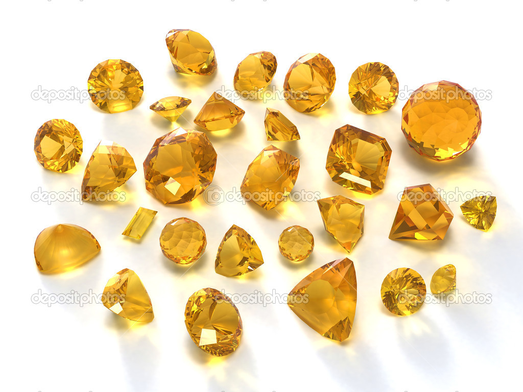 Citrine gems isolated on white — Stock Photo #1005625