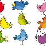 Набор забавный небольшие птички — Cтоковый вектор #1005815