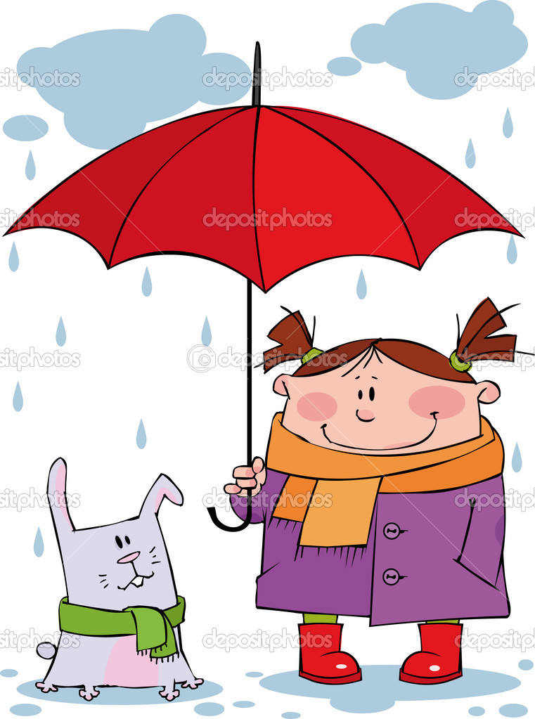 Little girl and rabbit under a red umbrella  — Stock Vector #1005749