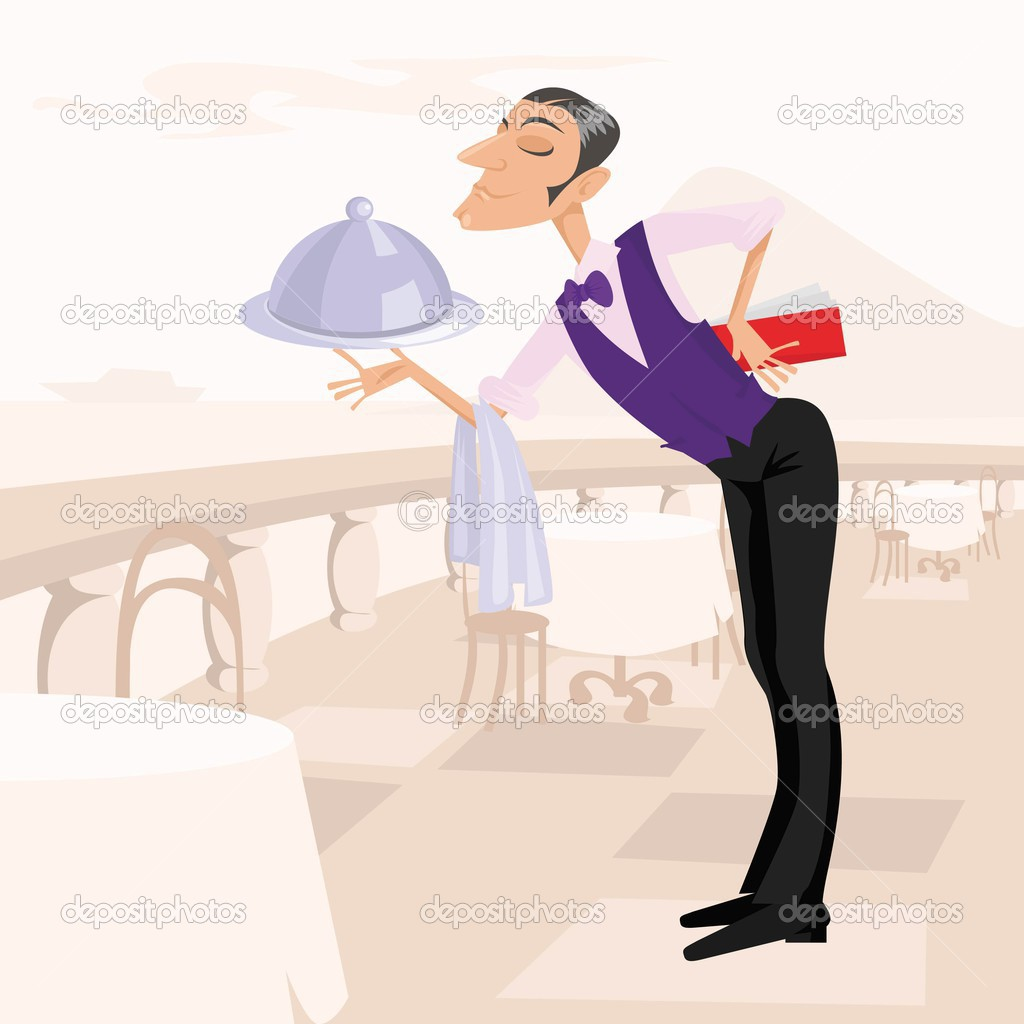The waiter with the menu and a dish on a restaurant terrace  — Stock Vector #1005754