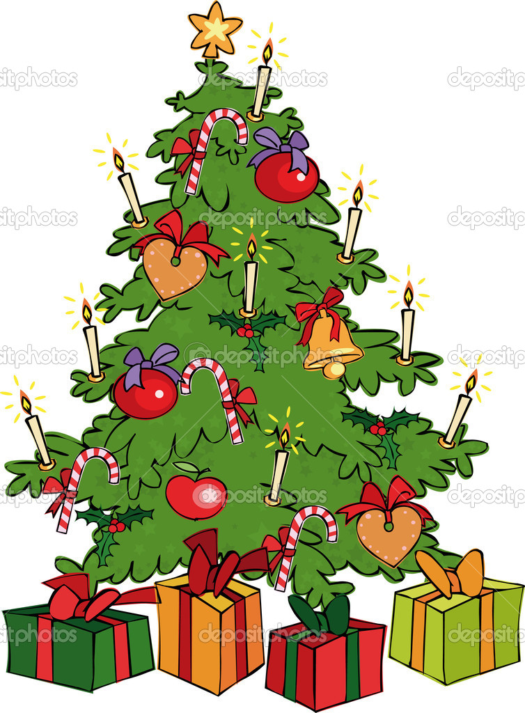 Vector illustrations with Christmas tree  Stok Vektr #1005782