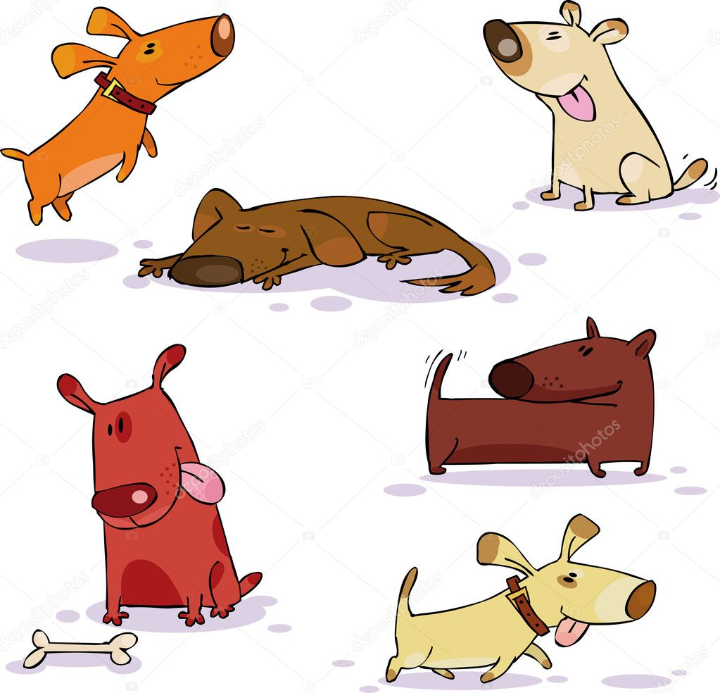 Vector set of funny dog — Stock Vector #1005786