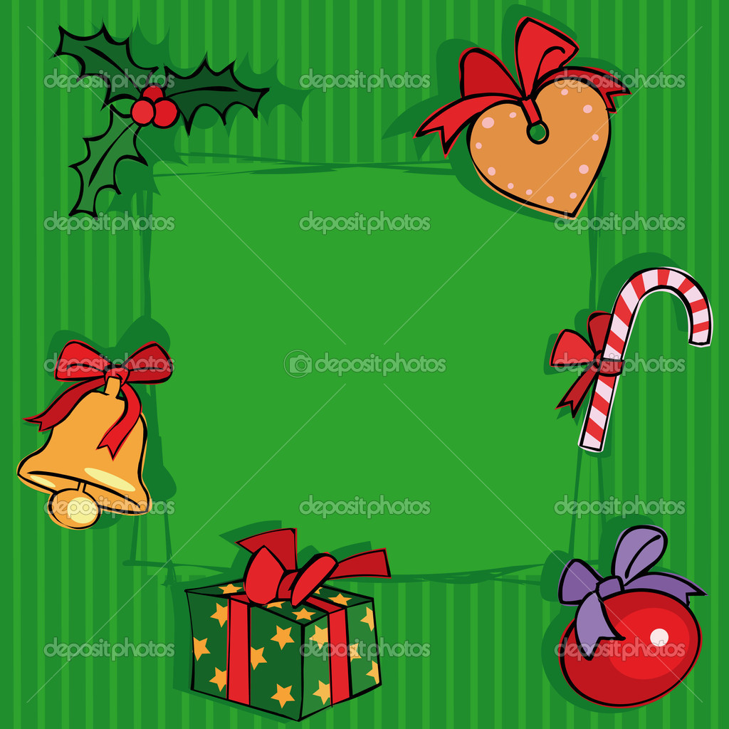 Green Christmas background with decoration elements — Stock Vector #1005795