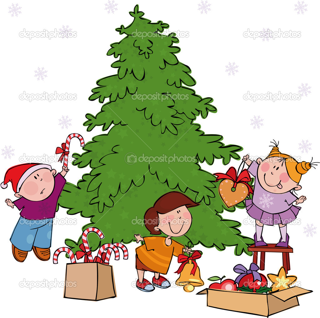 Vector illustrations with Christmas kids — Stock Vector #1005796