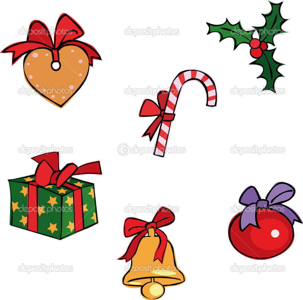 Six Vector Christmas set with gift, bell and candy — Stock Vector #1005806
