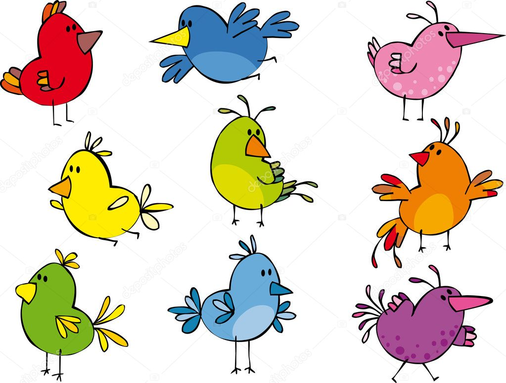 Set of funny small birdies  — Stock Vector #1005815