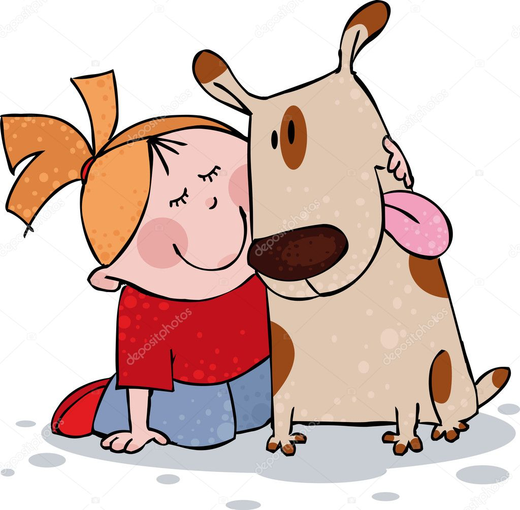 Little girl and funny dog  Stock Vector #1005891