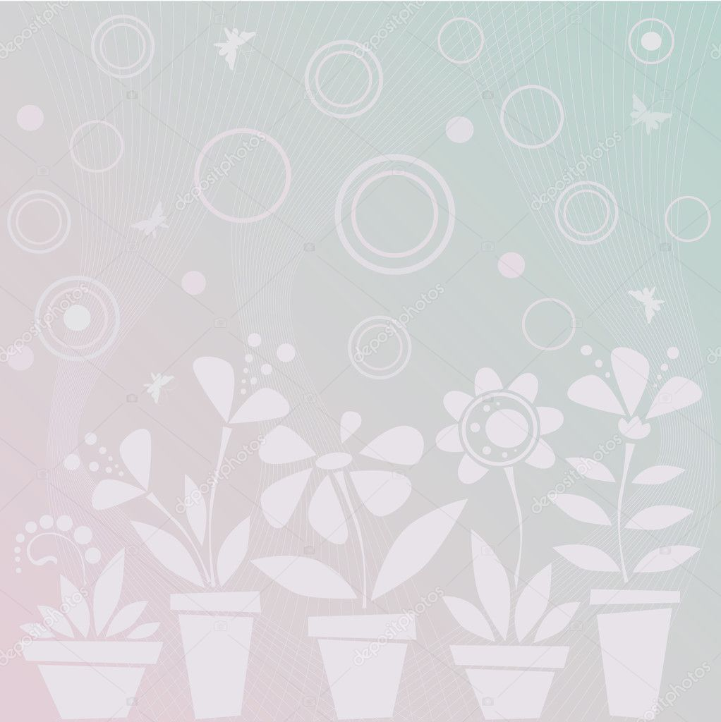 Light blue flowers in pots — Imagen vectorial #1005970