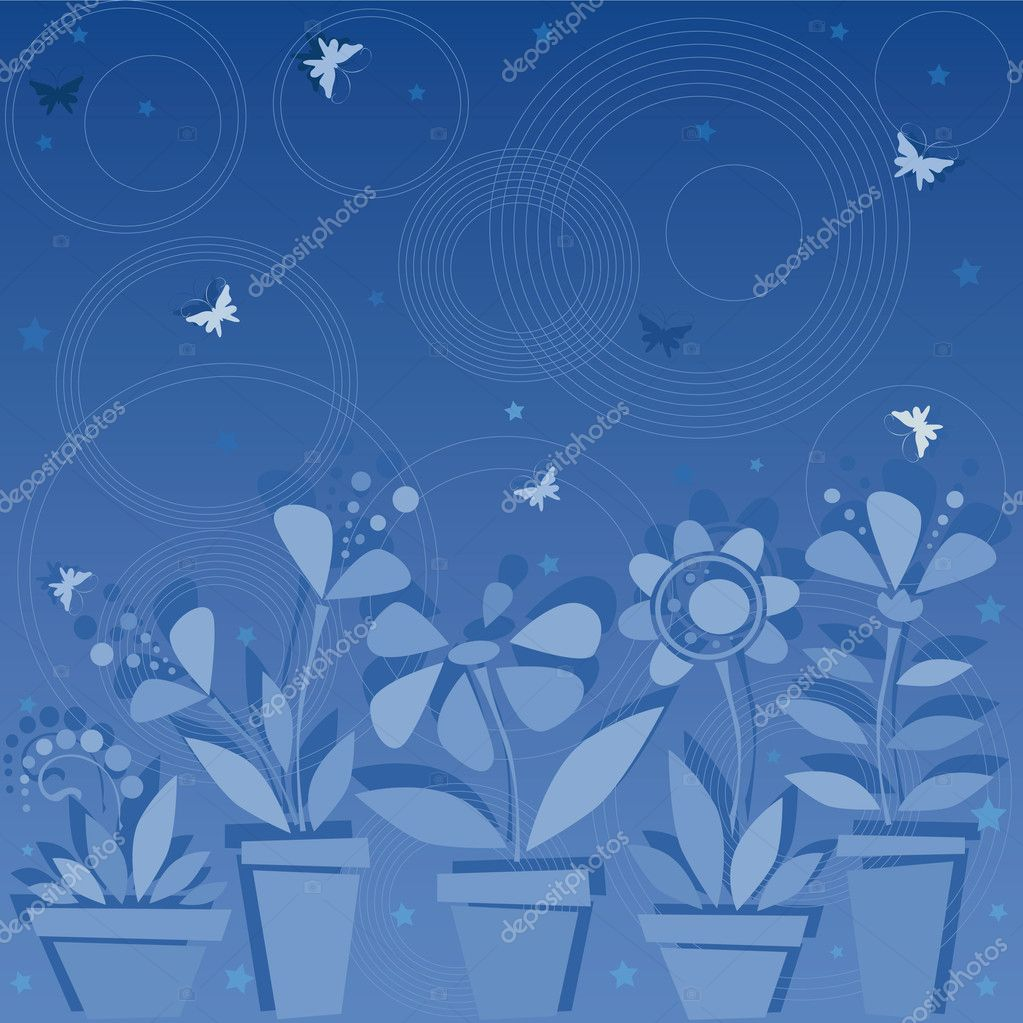 Dark blue flowers in pots — Stock Vector #1005971