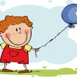 Funny kids with balloon - Stock Vector