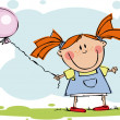 Stock Vector: Funny kids with balloon
