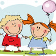 Funny kids with balloon — Stock Vector #1011096