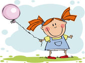 Funny kids with balloon — Stock Vector