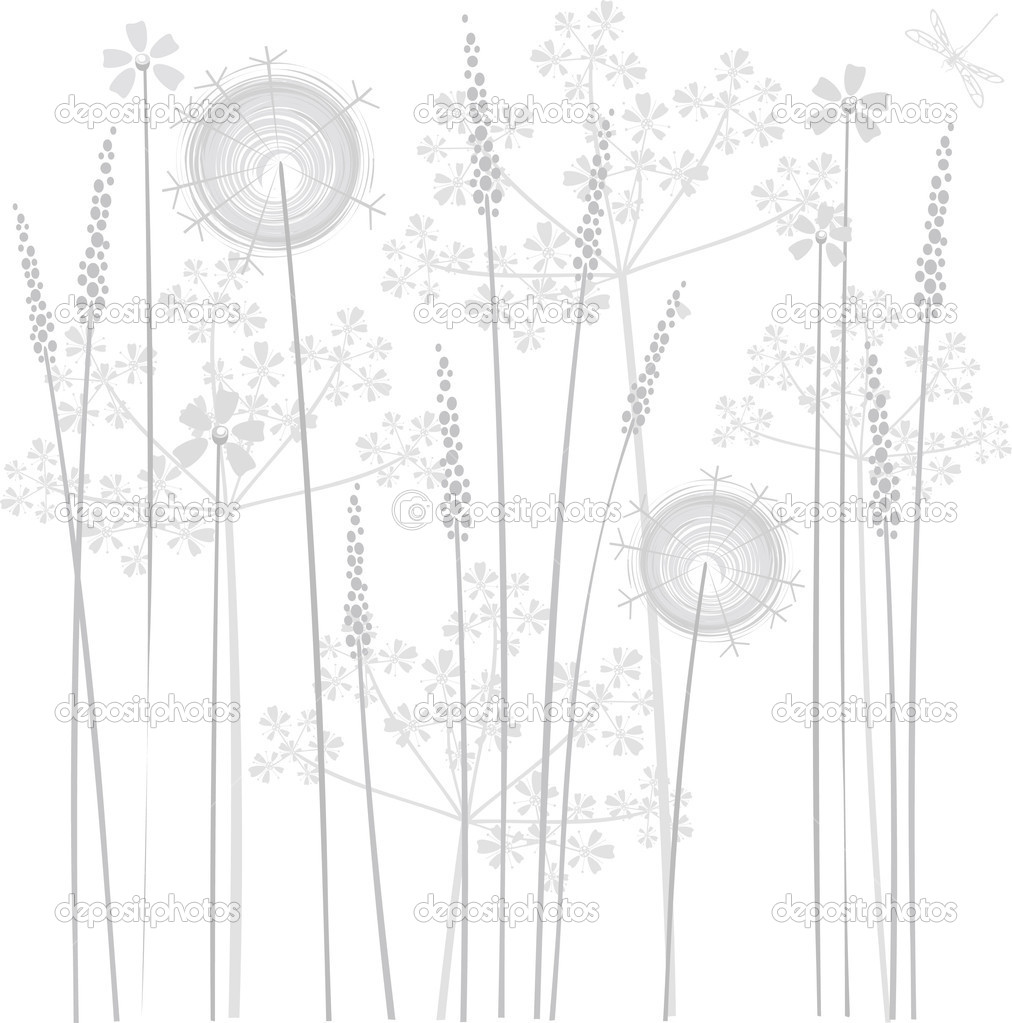 Flower gray background with dandelion  — Stock Vector #1131978
