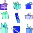 Stock Vector: Blue gifts