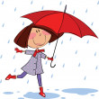 Stock Vector: Walk in rain