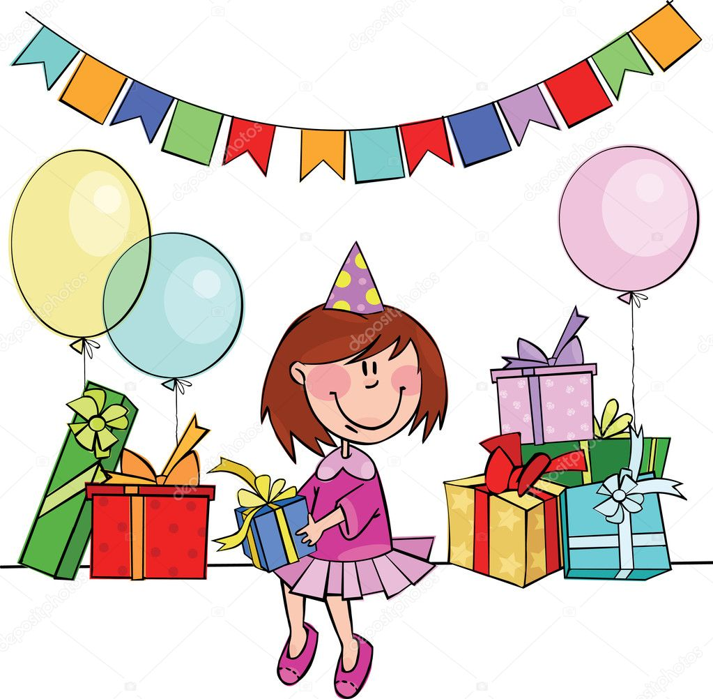Little girl with birthday gifts and balloons — Stock Vector #2261875