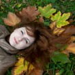 Stock Photo: Young ginger lying on autumn leaves