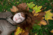 Young ginger lying on the autumn leaves — Stock Photo
