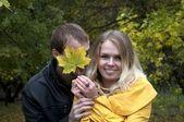 俏皮对年轻夫妇在爱 — 图库照片