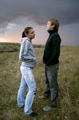 Young couple before a storm — Stock Photo