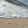 Stock Photo: Footprints on the beach