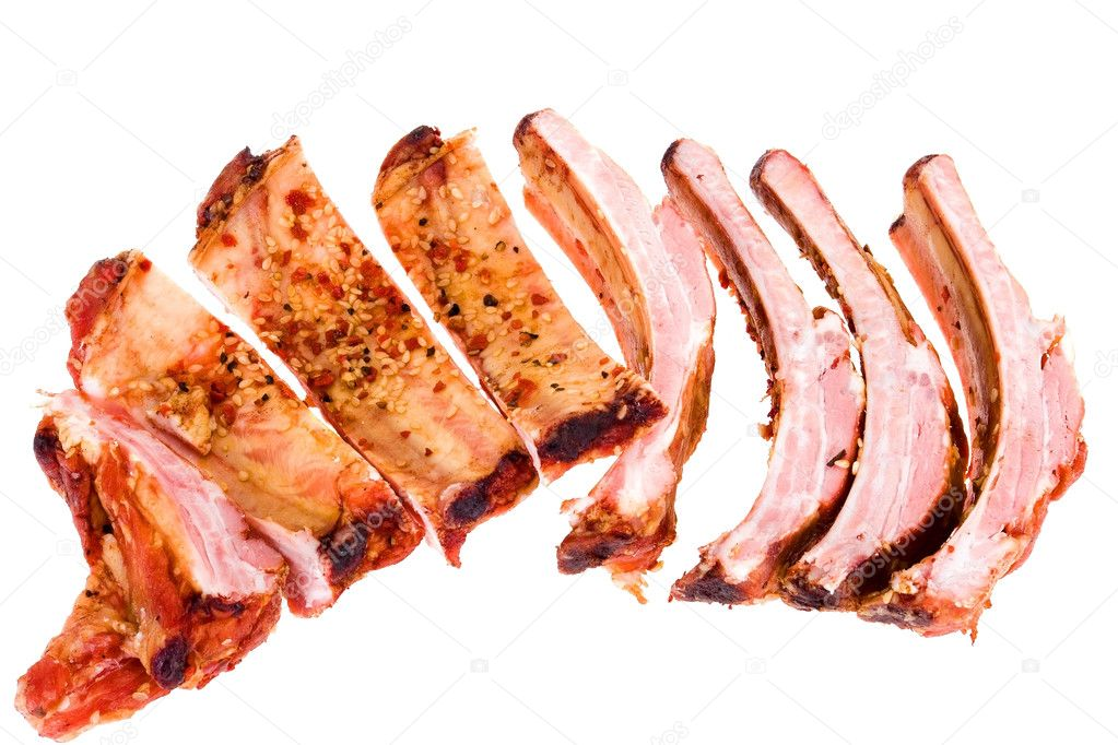 Smoked meat isolated on white background  Stock Photo #1007028