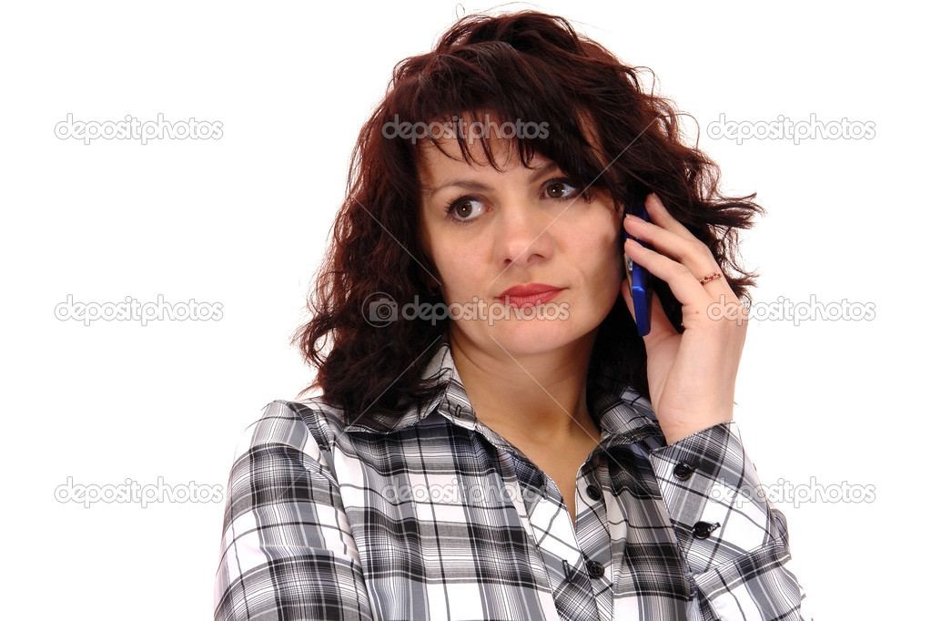 Woman with telephone isolated on white background                                — Stock Photo #1010145