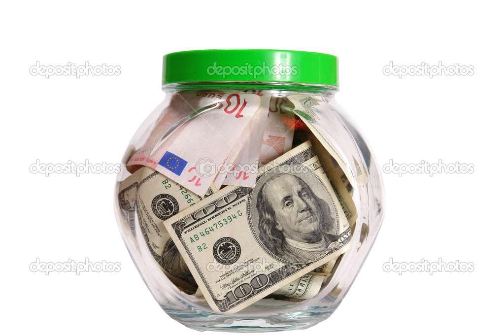 Dollars and euro in glass bank(clipping path included)                               — Stock Photo #1017453