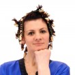 Woman in curlers — Stock Photo