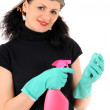 Woman with pink bottle — Stock Photo