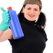 Woman with red and blue bottle — Stock Photo