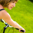 Woman and bike — Foto de Stock