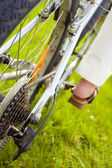 Close up of a bicycle drive wheel — Stock Photo