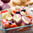 Traditional greek village salad in a glass bowl — Stock Photo #1014163