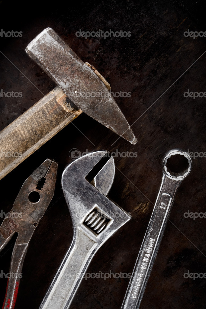 Working tools on a dirty background  Stock Photo #1097294