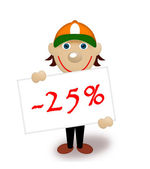 Tablet with percents, discount, manikin — Stock Photo