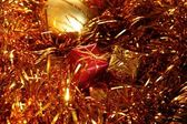 Christmas bulb and gift box decoration — Stock Photo