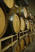 Wine barrels in cellar — Stock Photo