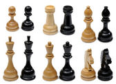 Set of wooden chess pieces — Stock Photo