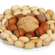Set of nuts on a white plate, isolation — Stock Photo