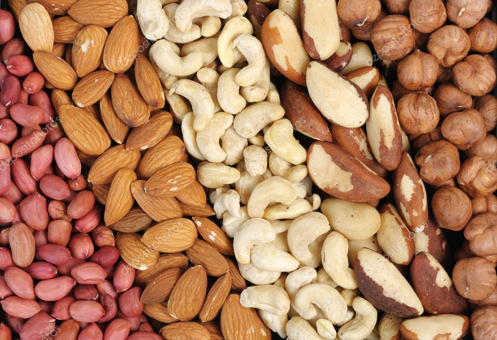 Set of nuts - peanuts, cashews, almonds, Brazil nuts, walnuts. — Stock Photo #1530540