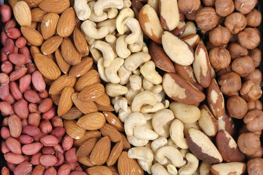 Set of nuts - peanuts, cashews, almonds, Brazil nuts, walnuts.  Stock Photo #1775572