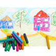 Wax crayons and drawing. — Stock Photo