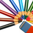 Colored pencils and eraser — Stock Photo #2305145