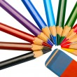 Colored pencils and eraser — Stock Photo