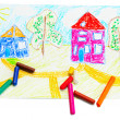 Wax crayons and children's drawing. — Stock Photo