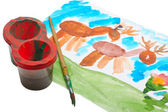 Children's watercolor drawing. — Stock Photo