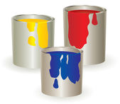 Three containers with yellow, red and bl — Stock Photo
